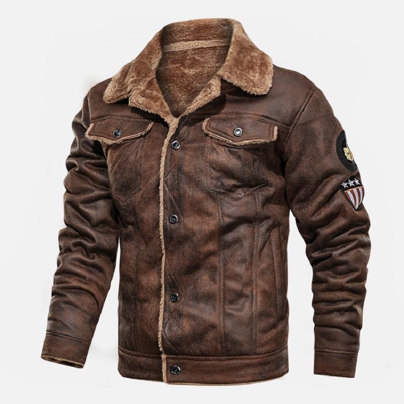 Cálido Invierno ejército táctico Chaquetas Hombre piloto de bombardero de vuelo ocasional militar chaqueta gruesa lana de algodón de lana Escudo Liner rompevientos