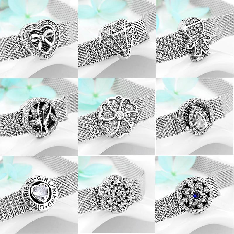 2019 Hot sale 925 Sterling Silver Sparkling CZ round Clip Charms Beads fits Reflexion Women Bracelet DIY Jewelry Gift Q1218