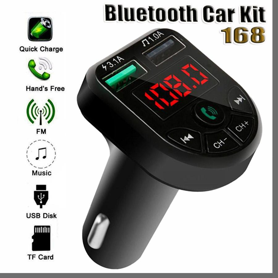 168D BTE5 Car MP3 Player Bluetooth FM Transmitter Car FM Modulator Dual USB Charging-Port for 12-24V General Vehicle