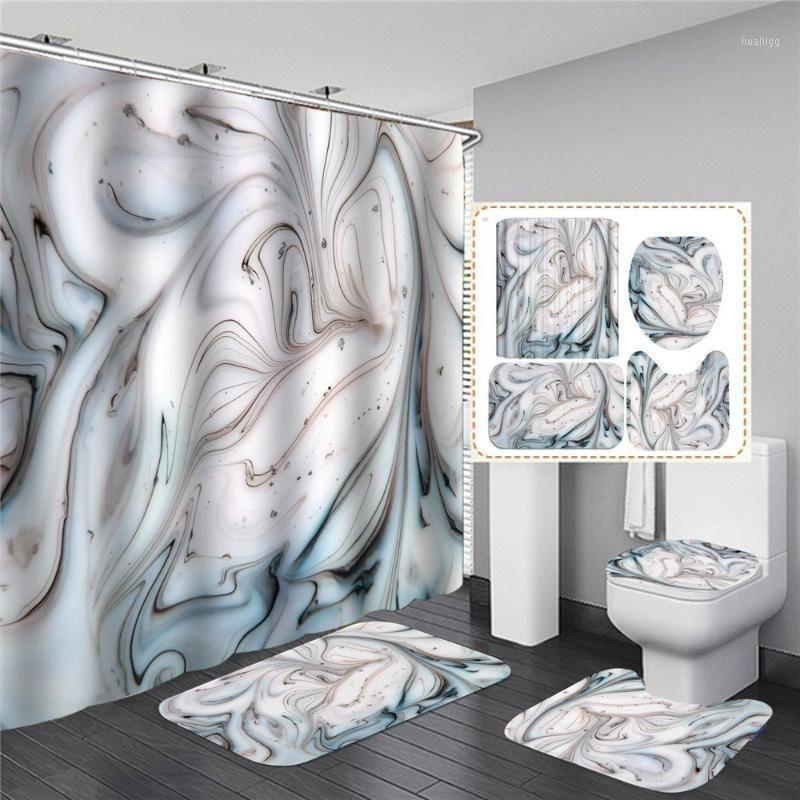 Curtain de figura de vara preto e branco com ganchos capacitação de piso de banho de piso de piso impermeável1