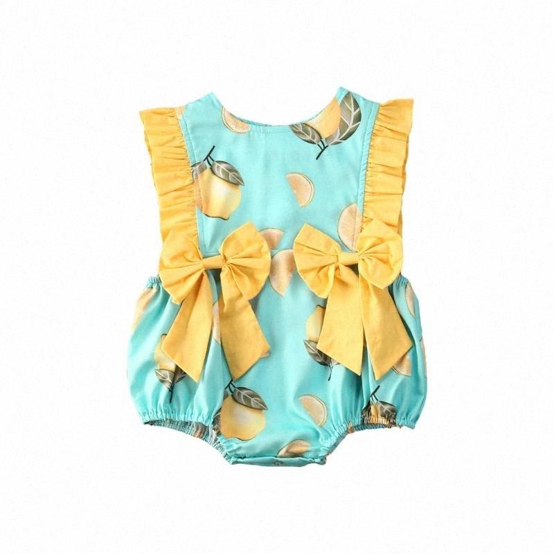 Verão Bebés Meninas mangas floral macacãozinho amarelo Bow Jumpsuit Bodysuit 2020 bonito Beach Holiday roupa casual lmmt #