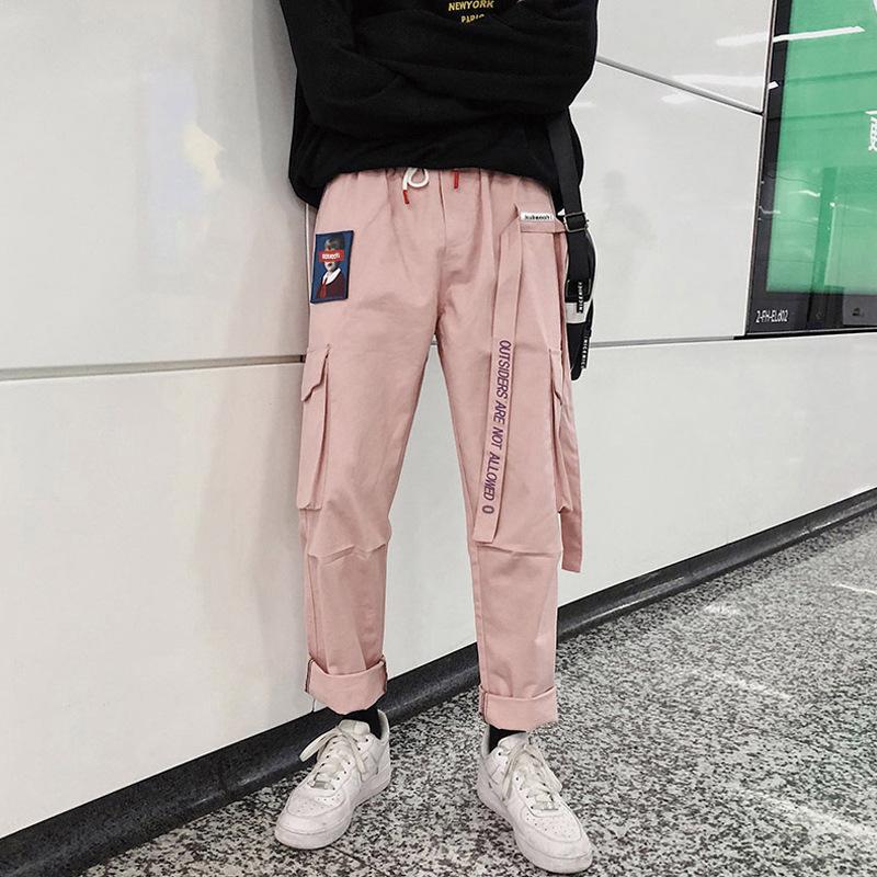 Houzhou Harajuku japonés más tamaño mujeres pantalones de carga joggers streetwear harem estampado elástico cintura bolsillo tobillo longitud pantalon y200114