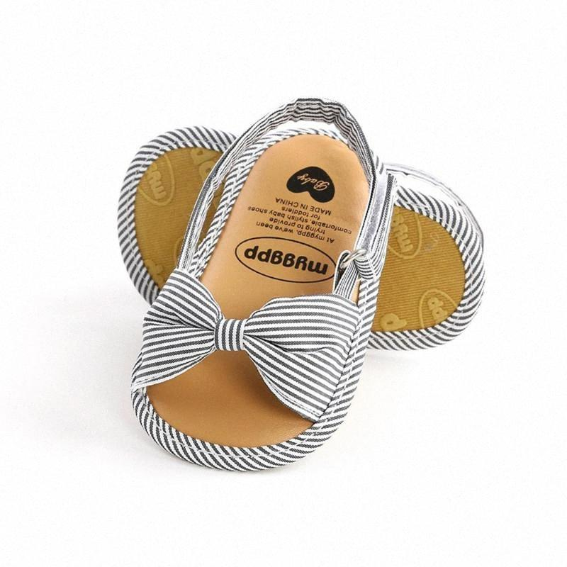 0-18M Summer Baby Girls Bow Striped Soft Soled Breathable Anti-Slip Sandals IEjx#