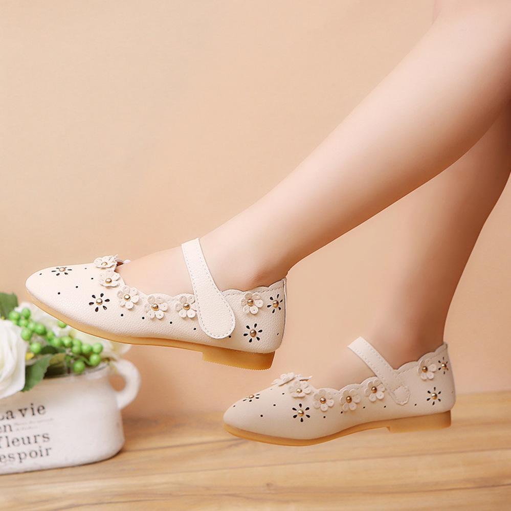 Pelle Mumoresip PU Girls Shoes bambina bambino Appartamenti fiori recisi-out principessa Kids Scarpe da bambini delle ragazze delicatamente Shoes Mocassini