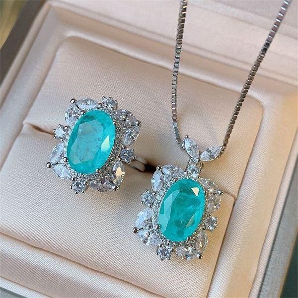 100% 925 sterling silver creato Paraiba Tourmaline Diamonds Diamonds Gemstone 8 * 12mm 5 ct anelli regolabili anelli gioielli fini per le donne Y1107