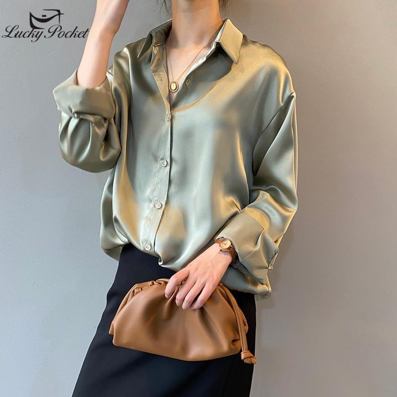 Mujeres de verano Camisa de color sólido tamaño grande Temperamento de moda suelto Temperamento Casual Blusa Femenino Slim de manga larga Camisa de solapa Señoras XY7