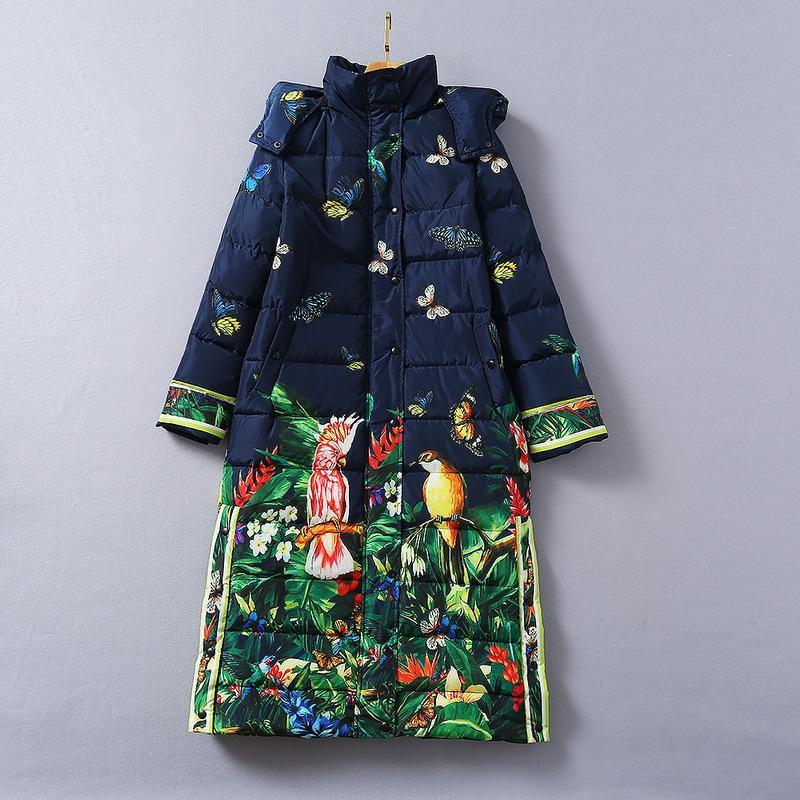 다운 재킷 유럽과 미국의 여성 의류 2020 겨울 새로운 스타일의 긴 소매 후드 앵무새 프린트 패션 따뜻한