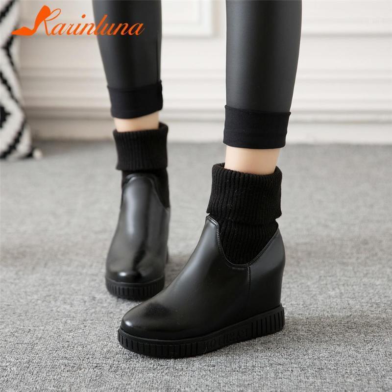 Drop Shipping Sale Frauen Schuhe 2021 Neue Mode Herbst Winter Knöchel Socke Stiefel Wohnung mit Runde TOE Patchwork Höhe Erhöhung1