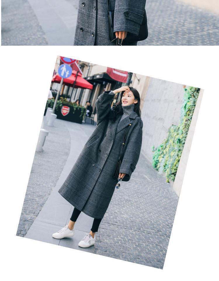 grande taille des femmes manteau de laine dames lâche à carreaux dames longues double boutonnage dames de vêtements d'hiver de mélange de la mode coréenne