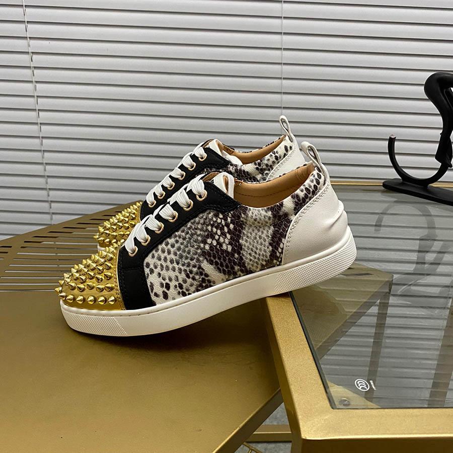 منصة الأحذية أفعواني تألق الماس المسامير المسامير مصمم أحذية رياضية جلد طبيعي عارضة أحذية رجالية