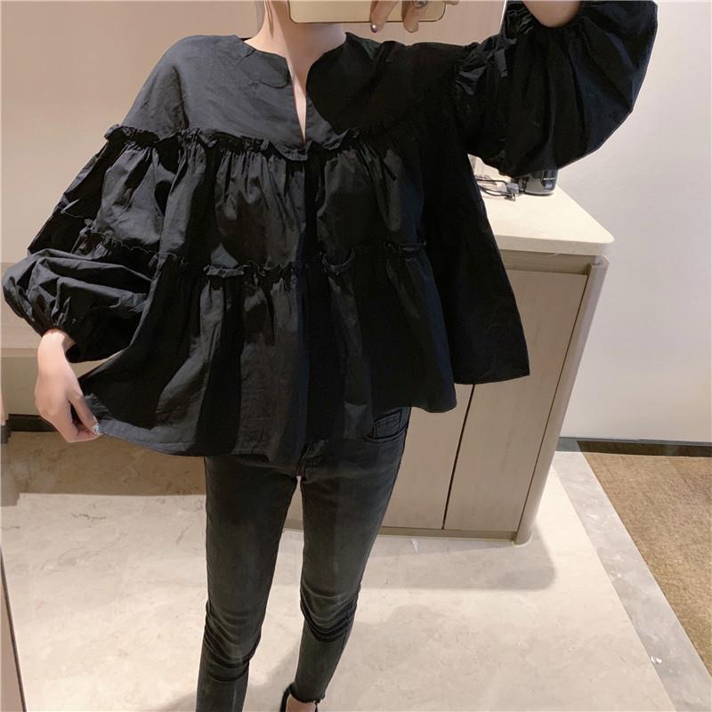 Женщины Black Fairy Блуза 2020 Осенняя мода Складки Большой Puff рукавом Baby Рубашки V шеи Sweet Girl Линия Crop Tops свободную рубашку