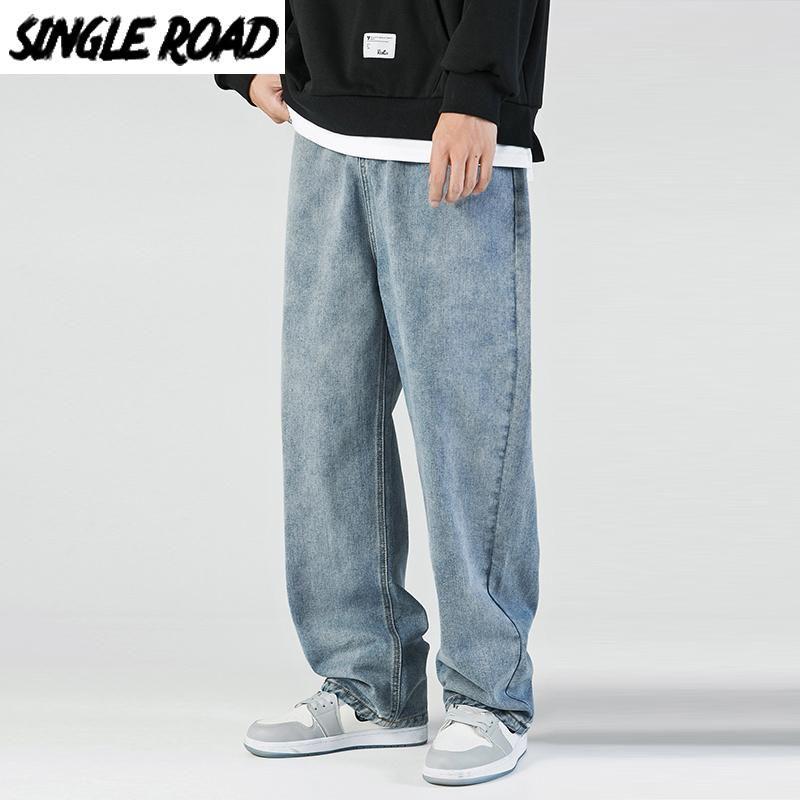 Men's Jeans SingleRoad Mens Men Fashion 2021 Denim Pants Baggy Hip Hop Japanese Streetwear Korean Style Trousers Blue For
