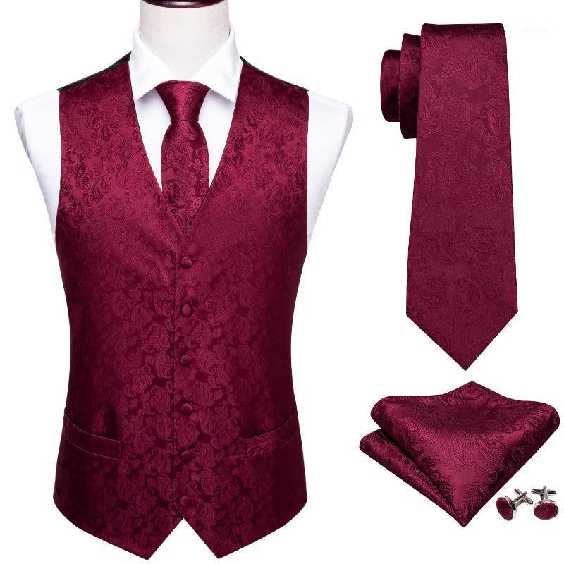 Chaleco de seda para hombre fiesta clásico de la boda paisley sólido floral jacquard chaleco chaleco bolsillo cuadrado corbata traje delgado juego barry.wang1