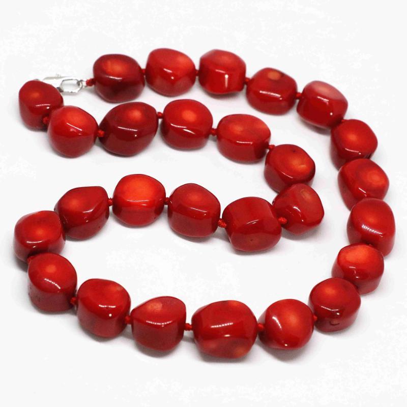 Natural de coral rojo de la piedra preciosa de Bohemia 10-15mm perlas irregulares cadena de venta caliente de la joyería collar de hacer MY3369 de 19 pulgadas