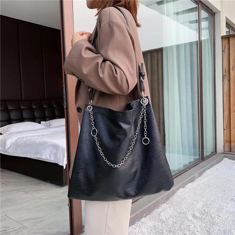 HBPShoulder Luxury Pu Leather Black Soft Women's Handbags Messenger Bags For Women 2020 Big Tote Bag lady Chain Q0112