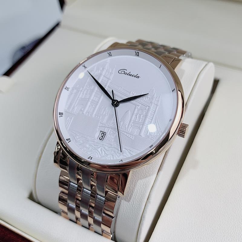 Caluola Новые модные водонепроницаемые механические часы автоматические мужские часы зовут знаменитый бренд аутентичные простой ремень мужские часы