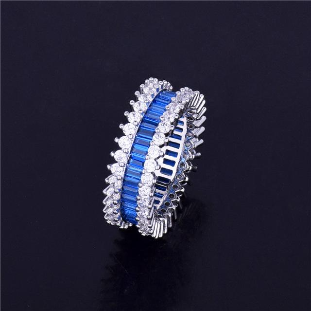 Blue Zircon Men's Ring Copper Material Charm Gold Color Cubic Zircon Iced RING Fashion Hip Hop Jewelry