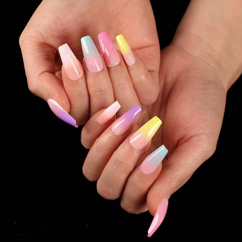 Arc-en-faux ongles en dégradé à long Cercueil Faux ongles européen ballerine pleine Nail Art Conseils ongles colorés de beauté