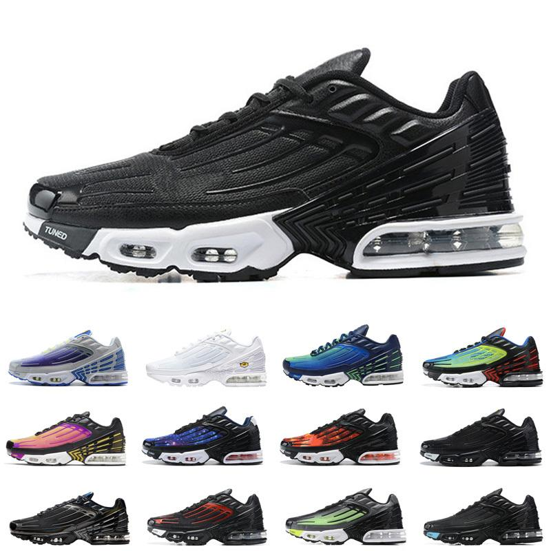 tn negro metálico además de 3 mens clásicos zapatos de las mujeres tn entrenadores 3 triples negro láser en blanco y azul de los hombres grises de los deportes zapatillas de deporte