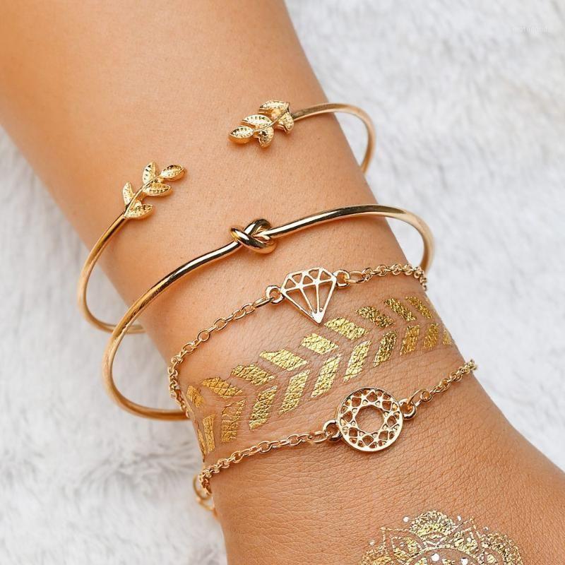 Bangle Terrea Kathy 4PCS / комплект стрелки круглые браслетыBangles для женщин мода сплав золотой цвет хрустальные многослойные браслеты ювелирные изделия GIF1