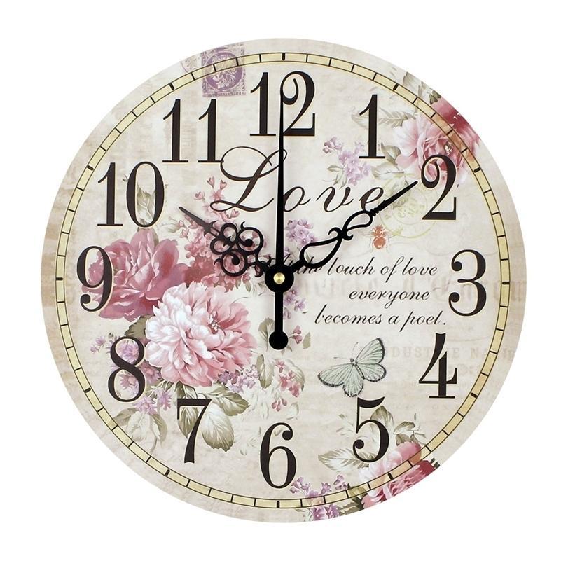 Ev Dekorasyon Büyük Duvar Saatleri Sessiz Duvar Saati Vintage Ev Dekor Moda Büyük Çiçekler Duvar Saatler Relojes Decoracion Pared LJ201211
