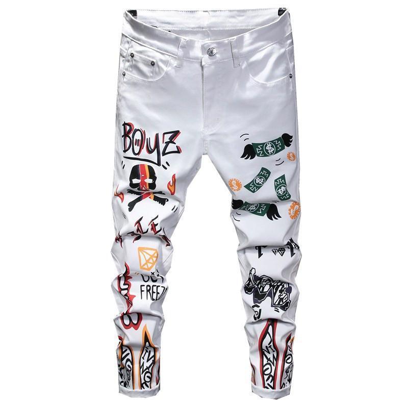 Jeans Slim Homme 2020 Streç Spodnie Meskie Baskılı Pantalon Hombre Rahat Beyaz Düz Hip Hop Pantolon Erkekler Slim Fit Pantolon