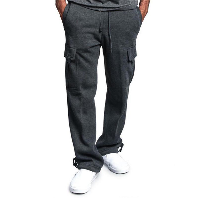 Men Plus Size M-5XL Pantalons simple poches Automne lacent Moyen Couleur unie taille Pantalons Mode Masculine Pantalon droit