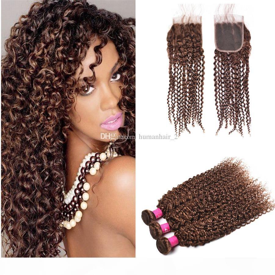 Chololate Brows Человеческие волосы Weaves с кружевным закрытием извращенные кудрявые каштановые волосы плетение кружева с пучками вьющиеся волосы Weives 4шт.
