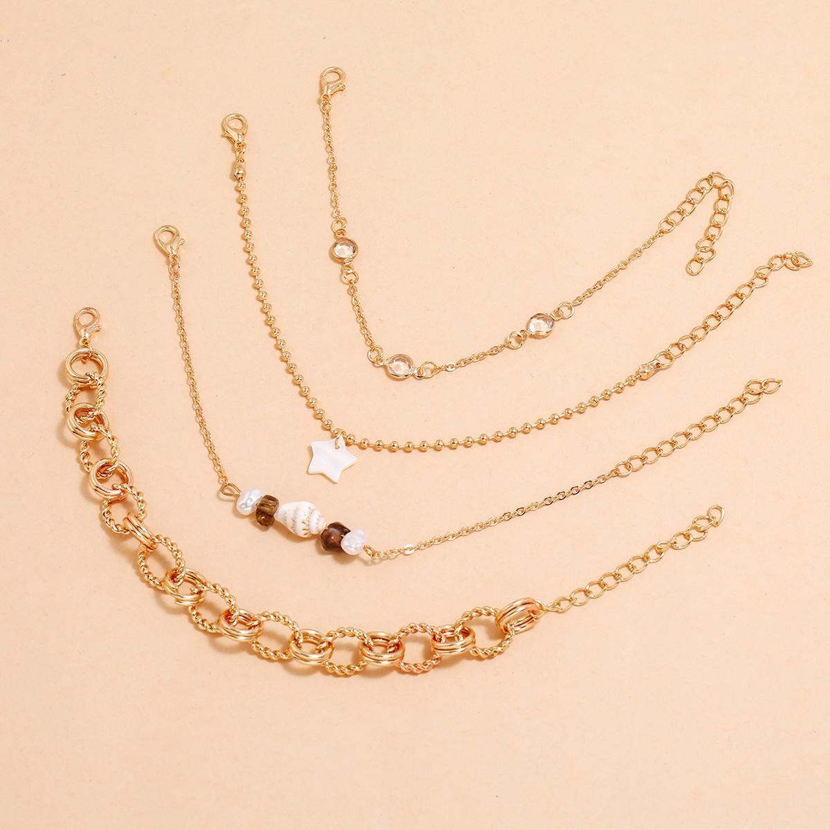 4 шт. / Установка Rhinestone Star Braclets для женщин Gold Color Imitality Pearl Conch Braclet Женская ручная цепочка набор новых
