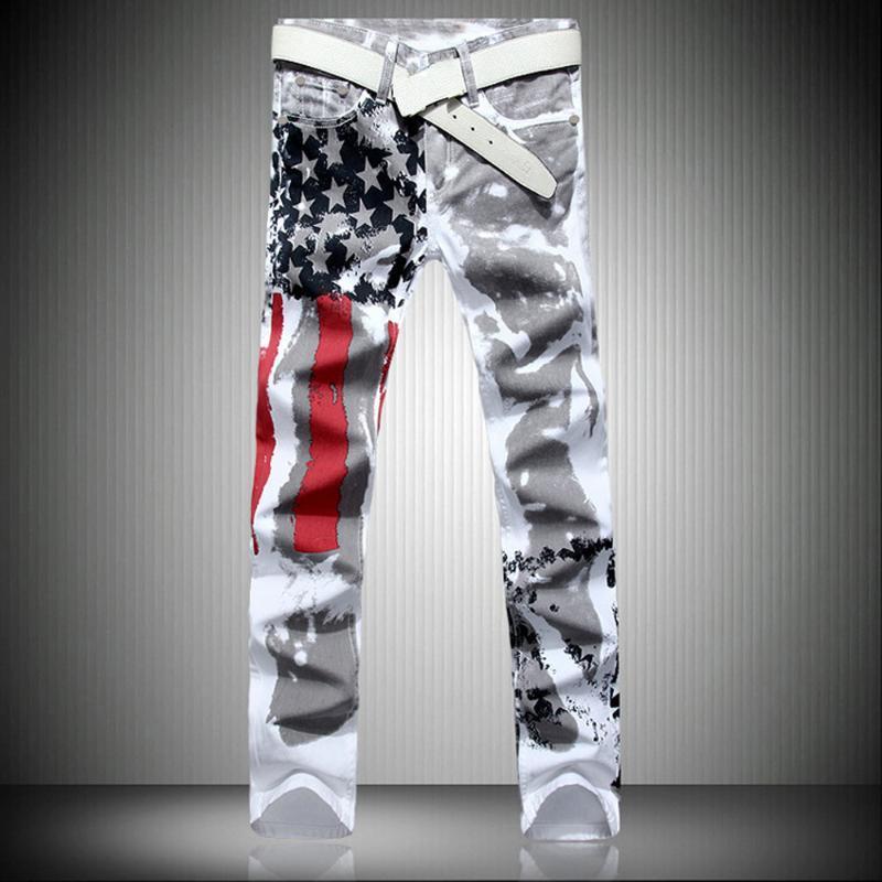 Manera de los hombres blancos de la bandera americana Impreso pantalones vaqueros rectos de alto estiramiento ajuste delgado denim Pantalones vaqueros del tamaño extra grande