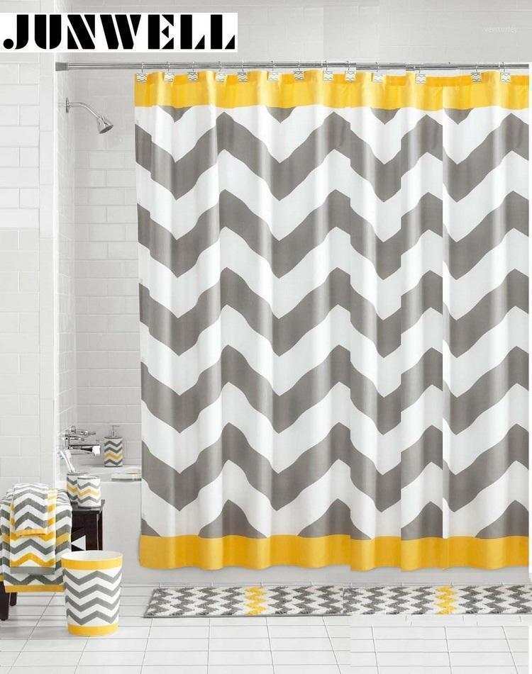 Rideaux de douche 100% polyester de polyester 180x180cm Zigzag Impression design Accueil Produits Rideaux de douche de salle de bain lavable1