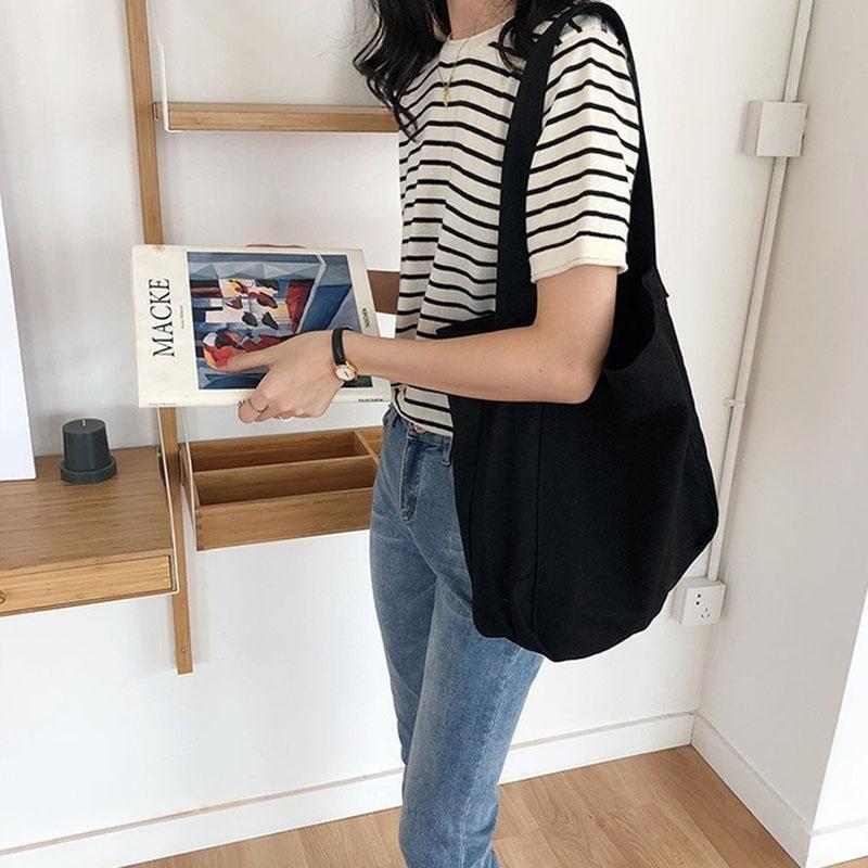 Capacità di tela giapponese Semplice borsa a tracolla arte multifunzione Letteratura femminile e borsa Casual Grande borsa casuale Casual KKHBJ