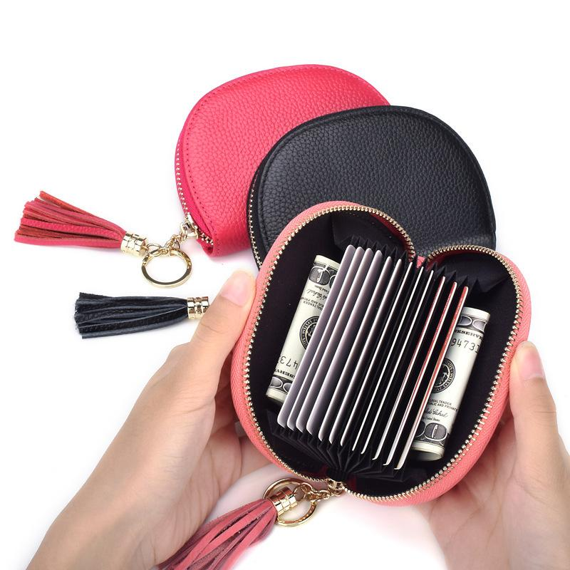 Крестное зеркало творческий орган карта мешок с кисточкой голова кожаная крышка карты многофункциональный нулевой кошелек против подметания RFID сумка