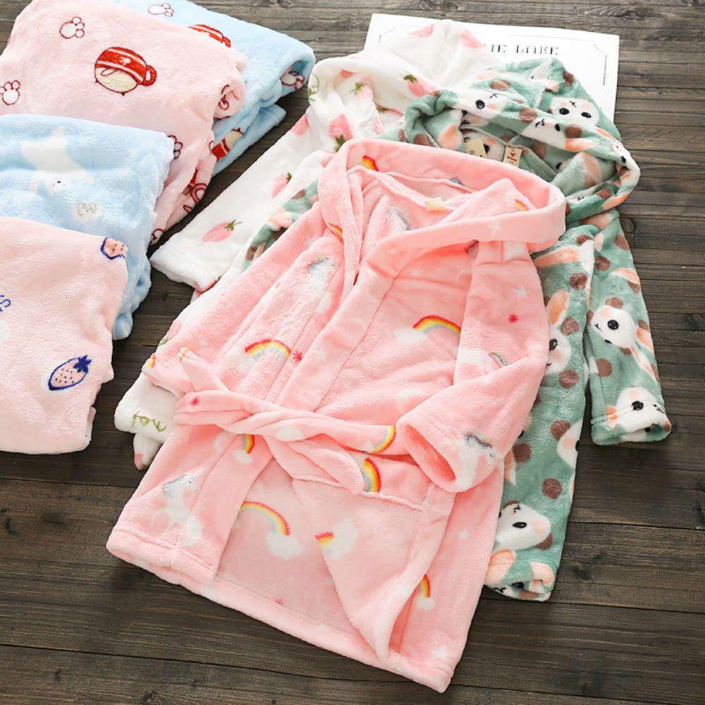 New's Otoño e invierno Nuevo Pijamas Franela Housewear Boys Girls Lace Up Bathroble A