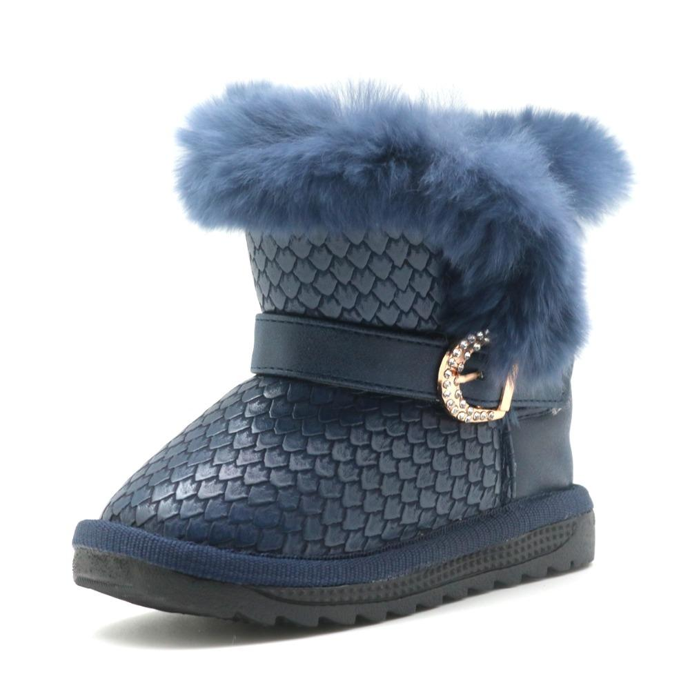 Apakowa Nouveaux tout-petits Filles Bottes d'hiver avec la mode vraie fourrure Bottes en peluche Décore filles en cuir PU imperméable hiver ShoesX1024