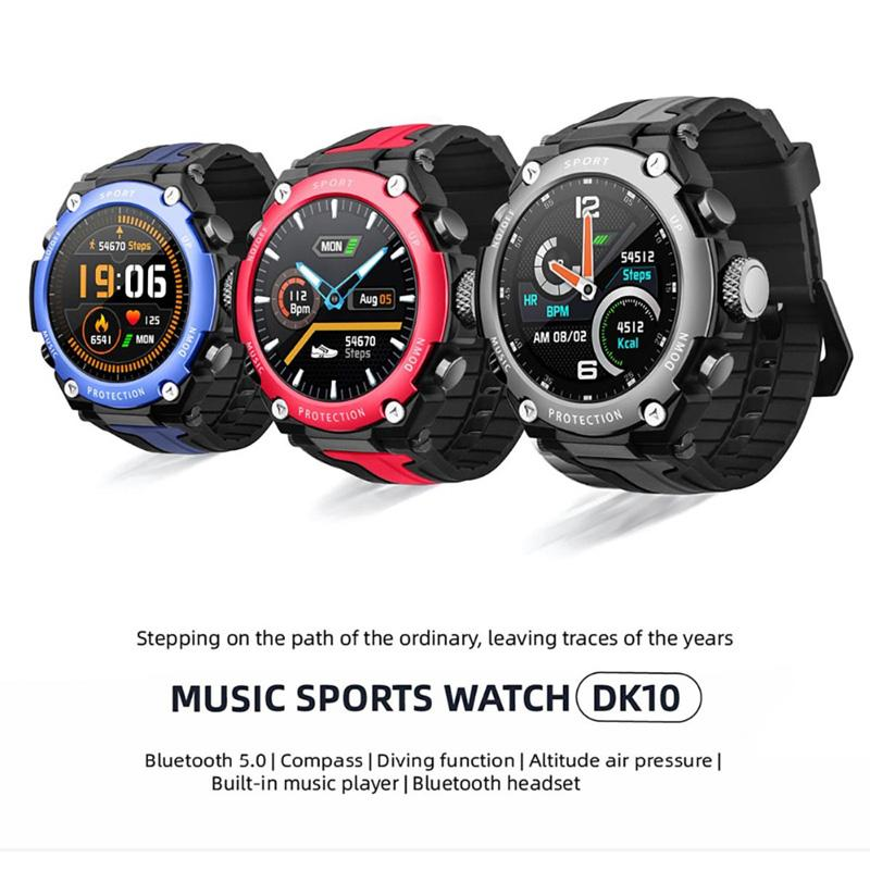 El más reciente DK10 Música inteligente Reloj Bluetooth Altitud Buceo IP68 a prueba de agua de Frecuencia Cardíaca se divierte la venda del tiempo para Android IOS envío de la gota