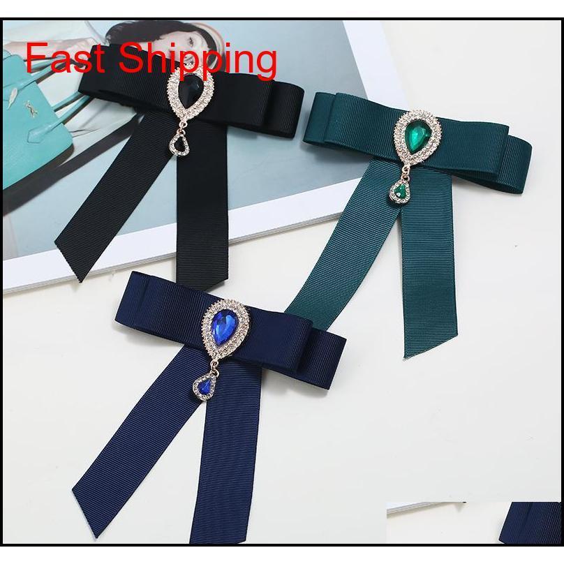 Heißer verkauf neue großhandel - pin broschen förderung ribbon trendy unisex diamant schmuck broche bogen brosche hemd kragen blume krawatte yh0zr