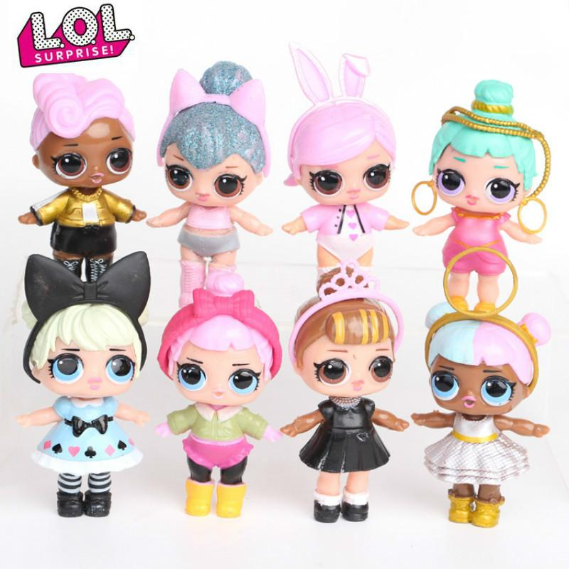 RI MUITO. SURPRESA! 8pcs / set Lol Surprise boneca Ornamentos Toy Confetti Glitter Series Figuras de Ação Anime para brinquedos dos miúdos para meninas 1011