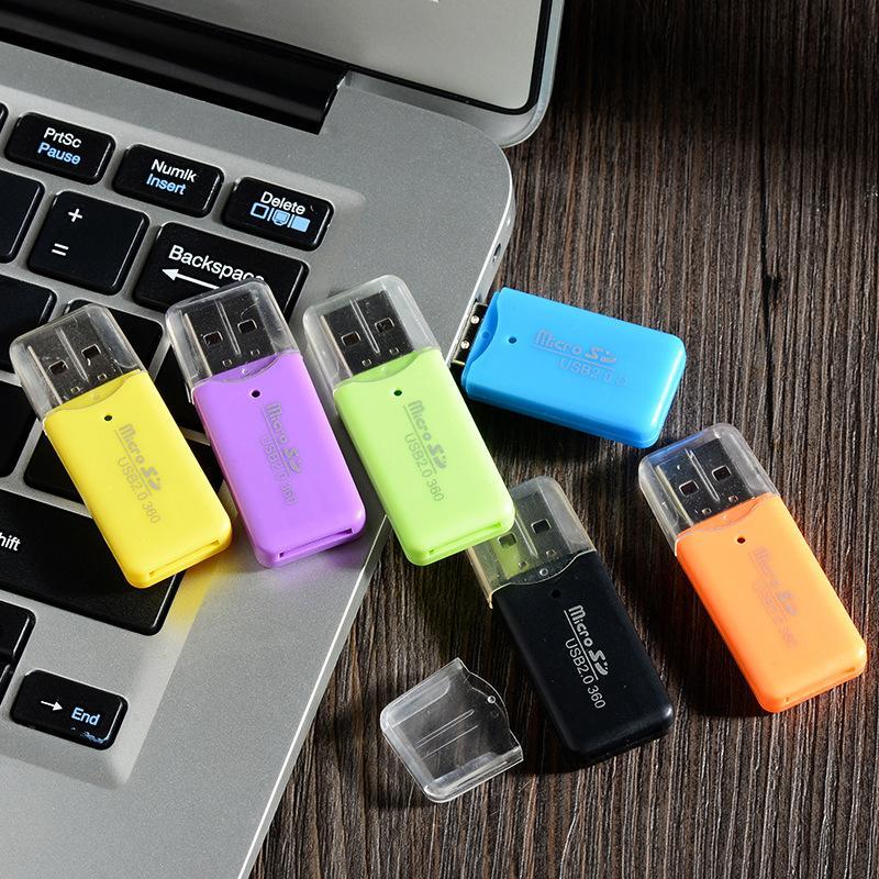 Alta Qualidade Mini USB 2.0 Card Reader para o cartão Micro SD TF adaptador Plug and Play computador Tablet PC colorido