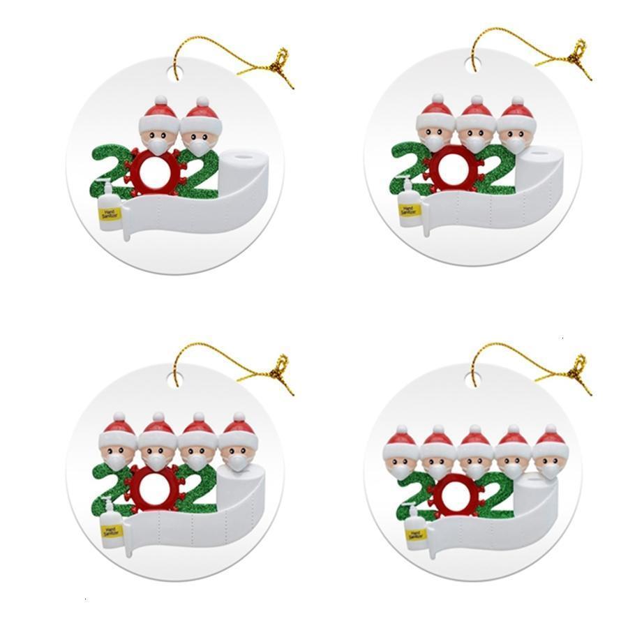 PVC de las decoraciones del árbol de navidad DIY Nombre faimly 2 3 4 5 Saludos de Santa Claus con máscara adorno de navidad HomoutletQ1J2 de Navidad