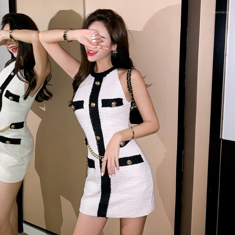 Yuzacdwx Новое сексуальное платье Маленький аромат ветер Summerdress 2020 женская мода белый ремешок без бретелек тонкий мини-платье Vestido1