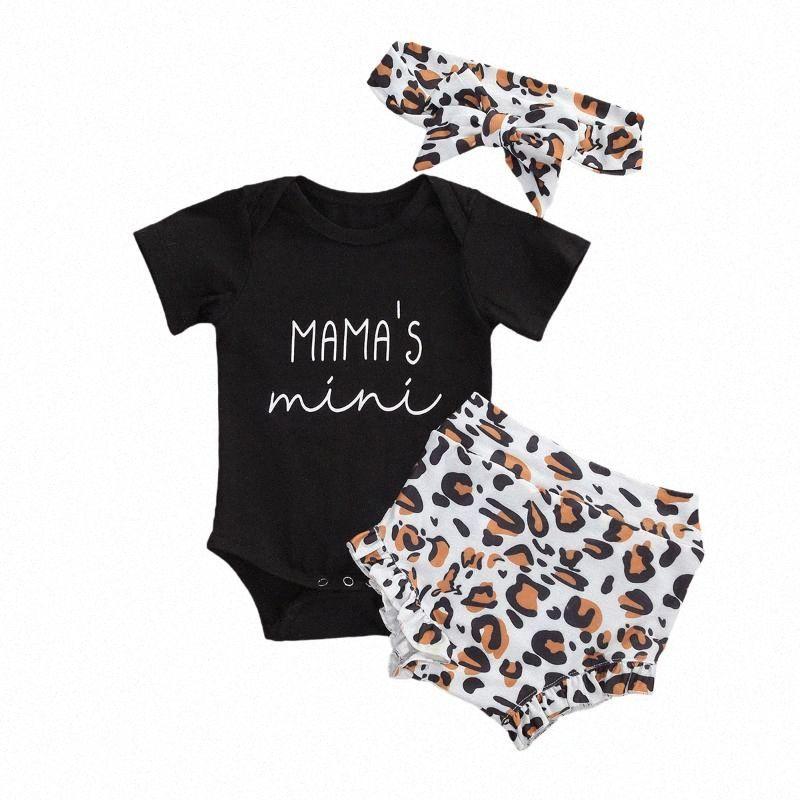 Manica corta Focusnorm 0-18M 3Pcs Leopard vestiti della neonata del bambino lettera stampata nero Body Top leopardo pantaloni Outfit f6jd #