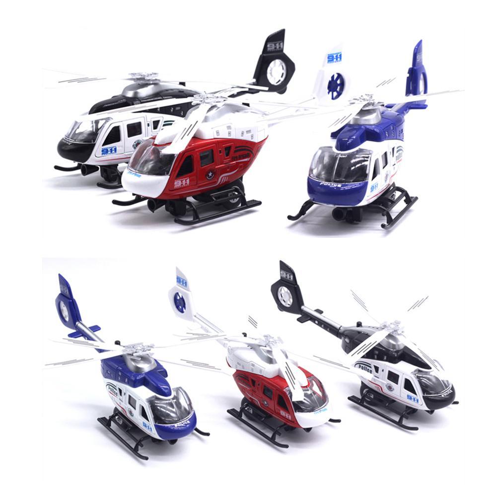 Geri Çekme Model Uçak Gerçekçi LED Çocuk Polis Helikopter Oyuncak Toplama Müzik Aydınlatma Masa Dekor