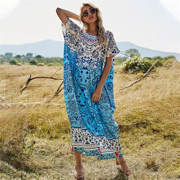 Loose New 2021 Spring Large Print Dress Women's Casual Blouse