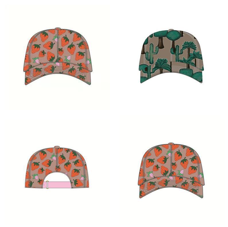 2 색상 높은 품질 딸기 야구 모자 면화 선인장 편지 모자 여름 여성 태양 모자 야외 남자 모자 여성 Snapback 모자
