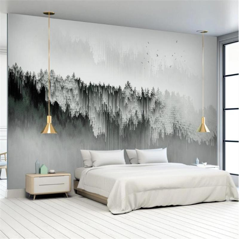 Milofi custom 3d non-woven wallpaper mural modern minimalist abstract landscape forest home decoration painting background wall