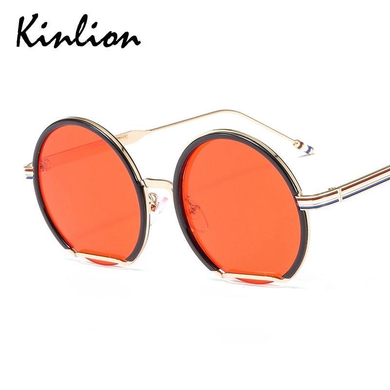 Sonnenbrille Kinlion Runde Übergroße Metall Für Männer Frauen Vintage Große Rahmen Damen Sonnenbrille Weibliche Oculos Gafas 2021