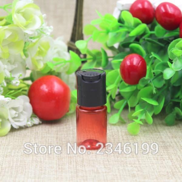100pcs / lot 5ML Basın Cap Şişe, Kozmetik PET Plastik Losyon Kırmızı Şeffaf Alt şişeleme, Küçük Krem Şişe