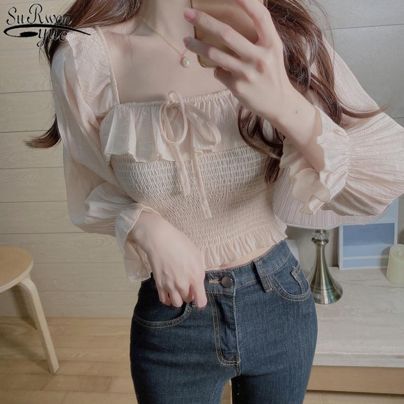 Vintage élégant taille Slim Volants Femme Blouse Collier Souffret Sweet Feule Sleeve Femme Blouse Chemises Blanc Tops Blouses 10094 Y200828