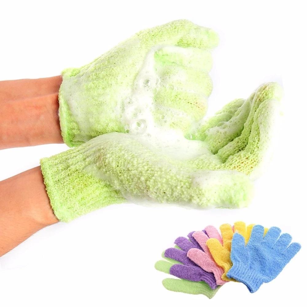 Ванна для пилинга отшелушивающий Mitt перчатка для душа Скраб перчатки Resistance массаж тела Губка мытья кожи Увлажняющий SPA пены 30шт